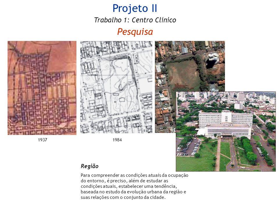 Projeto II Trabalho 1: Centro Clínico Pesquisa 19841937 Região Para compreender as condições atuais da ocupação do entorno, é preciso, além de estudar