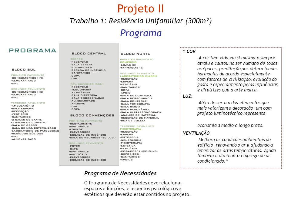 Projeto II Trabalho 1: Residência Unifamiliar (300m²) Programa Programa de Necessidades O Programa de Necessidades deve relacionar espaços e funções,