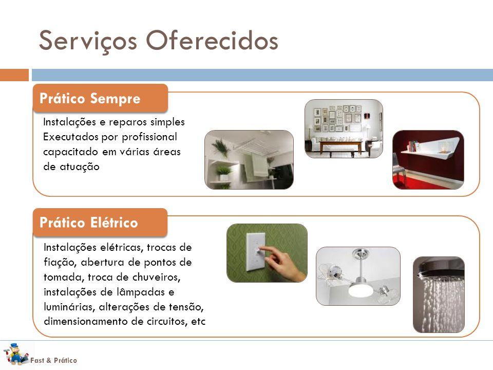 Fast & Prático Serviços Oferecidos Instalações e reparos simples Executados por profissional capacitado em várias áreas de atuação Prático Sempre Inst