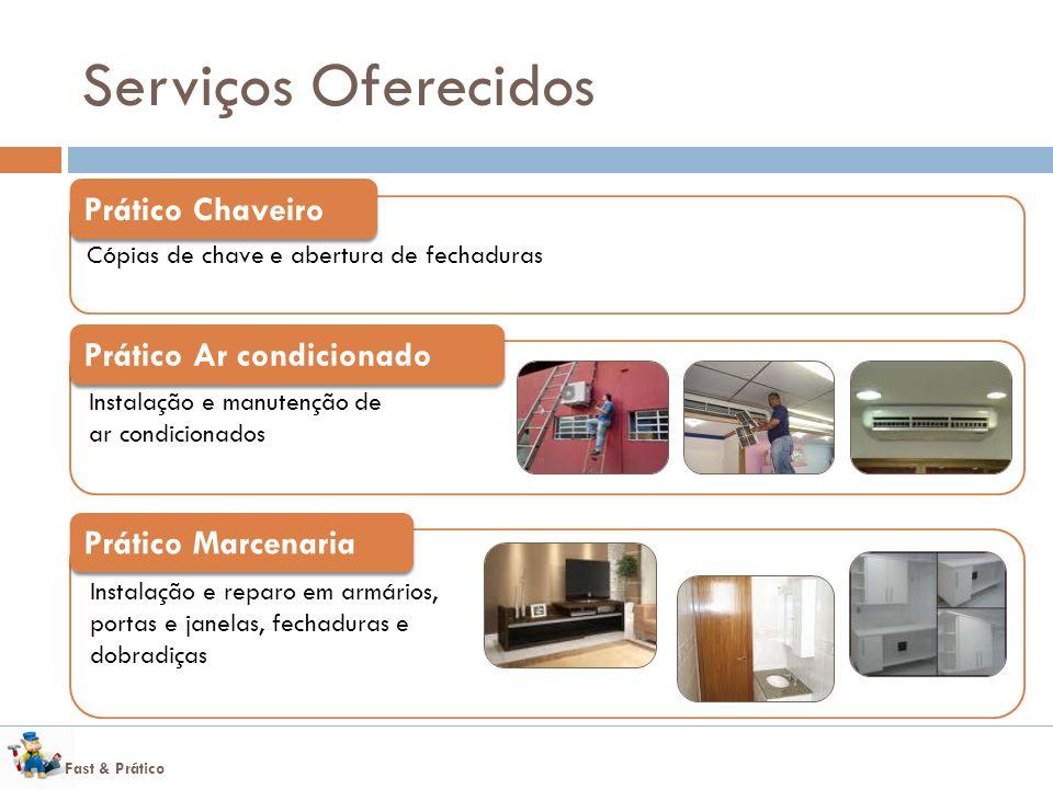 Fast & Prático Serviços Oferecidos Cópias de chave e abertura de fechaduras Prático Chaveiro Instalação e reparo em armários, portas e janelas, fechad