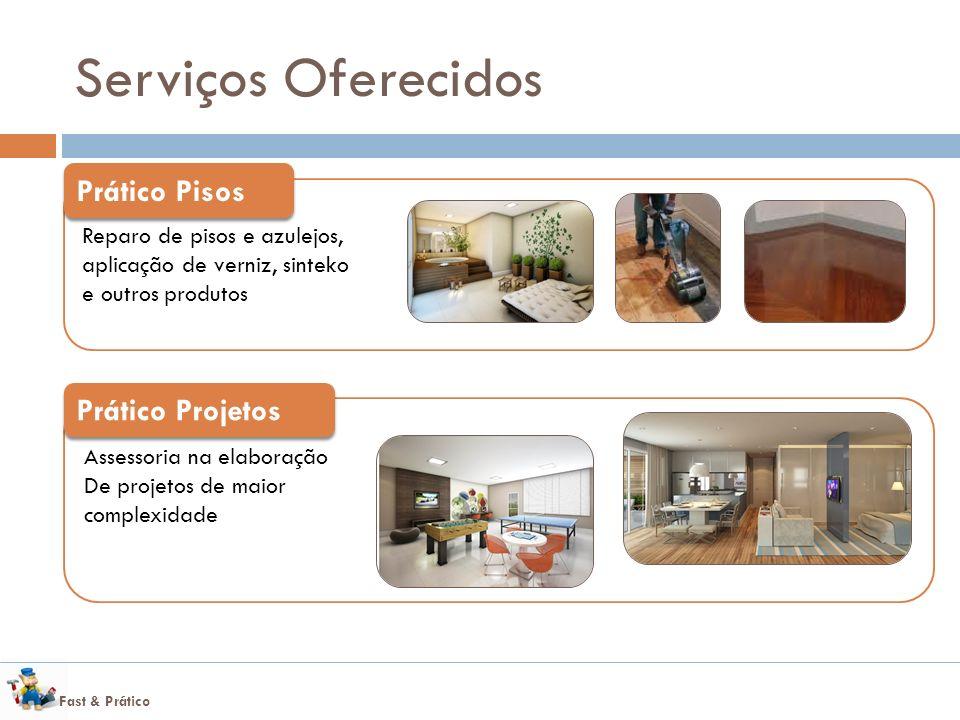 Fast & Prático Serviços Oferecidos Reparo de pisos e azulejos, aplicação de verniz, sinteko e outros produtos Prático Pisos Assessoria na elaboração De projetos de maior complexidade Prático Projetos