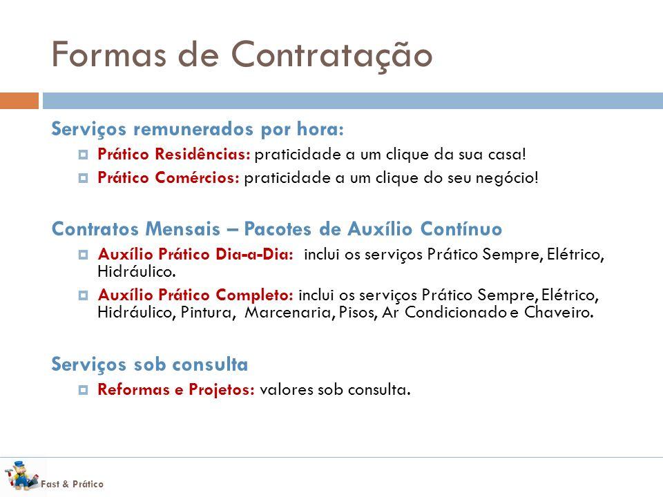 Fast & Prático Formas de Contratação Serviços remunerados por hora: Prático Residências: praticidade a um clique da sua casa! Prático Comércios: prati