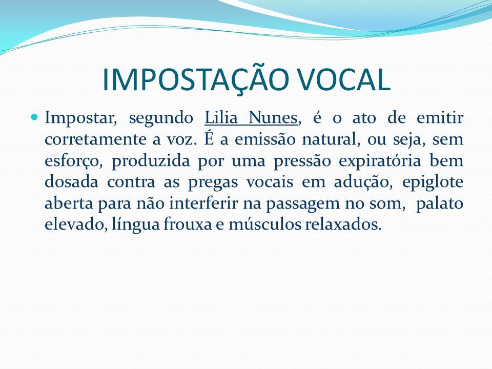 IMPOSTAÇÃO VOCAL Impostar, segundo Lilia Nunes, é o ato de emitir corretamente a voz. É a emissão natural, ou seja, sem esforço, produzida por uma pre