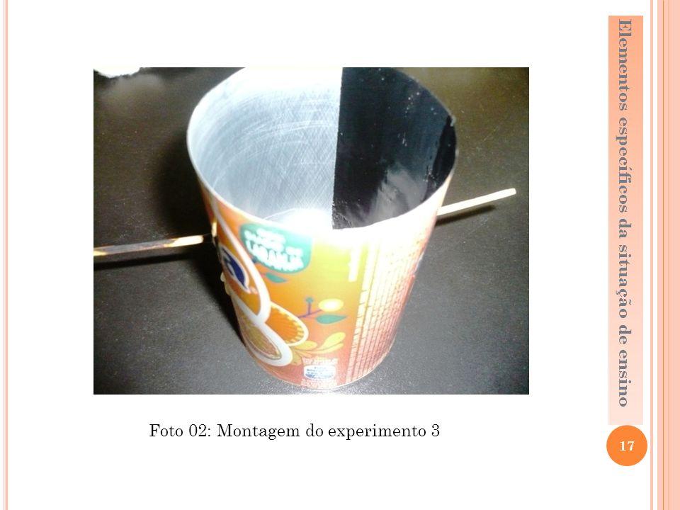 17 Elementos específicos da situação de ensino Foto 02: Montagem do experimento 3
