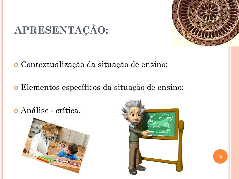 APRESENTAÇÃO: Contextualização da situação de ensino; Elementos específicos da situação de ensino; Análise - crítica.