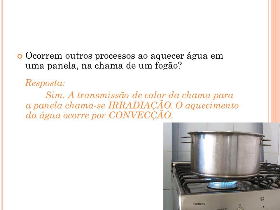 Ocorrem outros processos ao aquecer água em uma panela, na chama de um fogão.