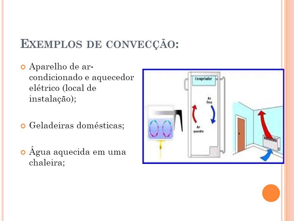 E XEMPLOS DE CONVECÇÃO : Aparelho de ar- condicionado e aquecedor elétrico (local de instalação); Geladeiras domésticas; Água aquecida em uma chaleira;