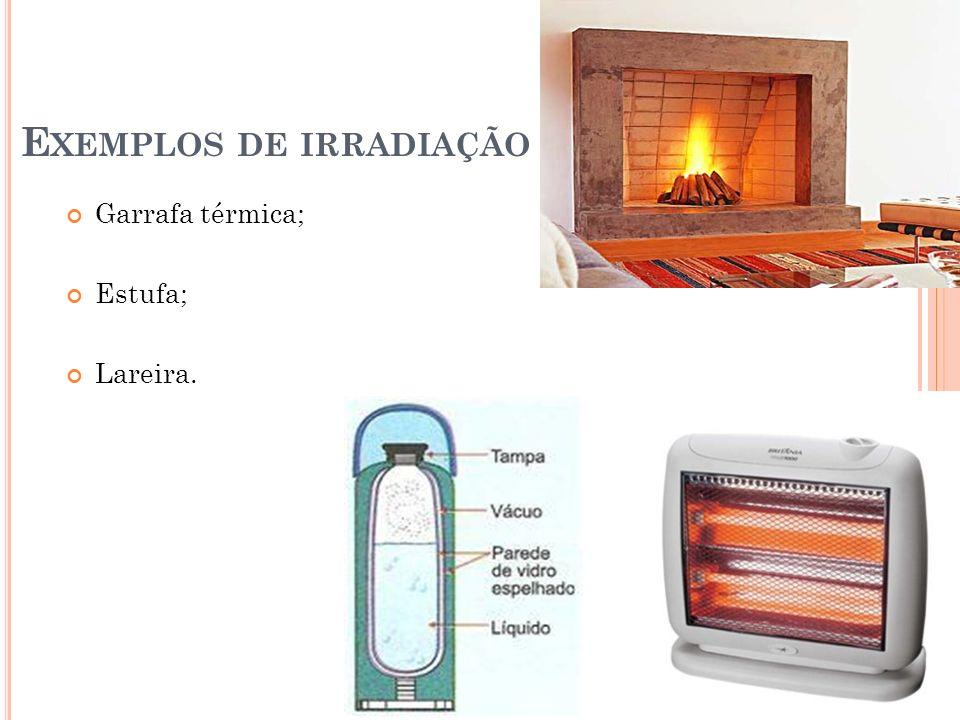 E XEMPLOS DE IRRADIAÇÃO Garrafa térmica; Estufa; Lareira.