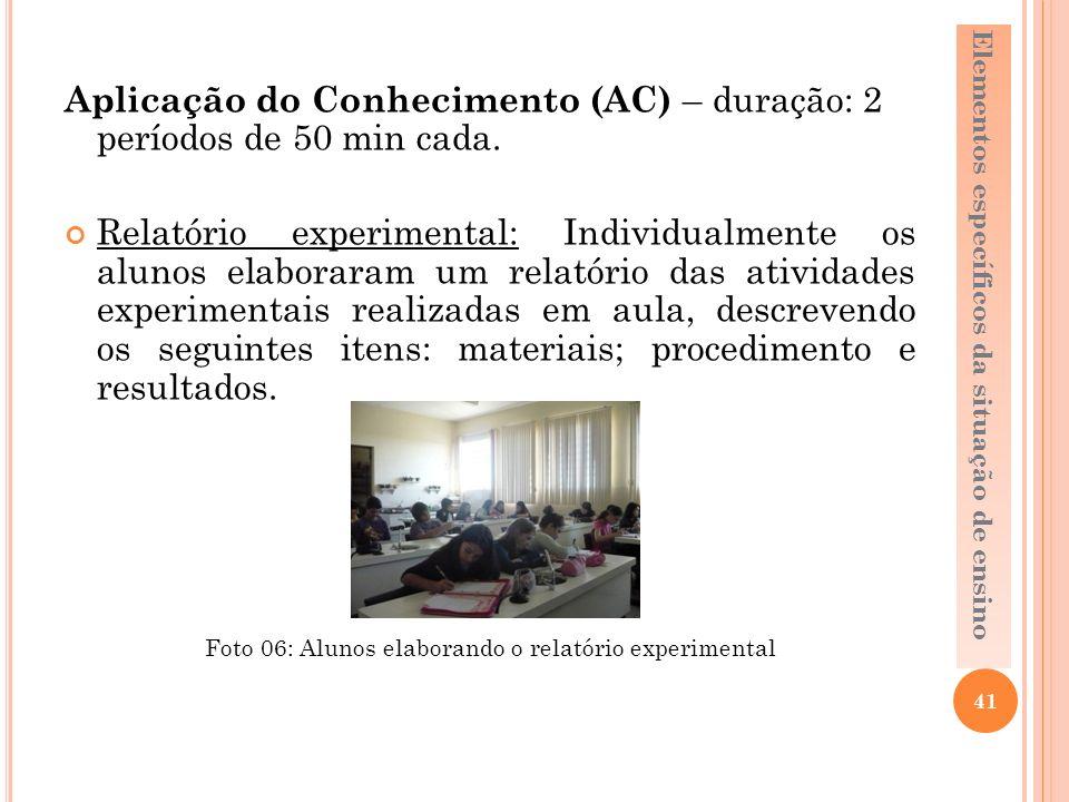 Aplicação do Conhecimento (AC) – duração: 2 períodos de 50 min cada.