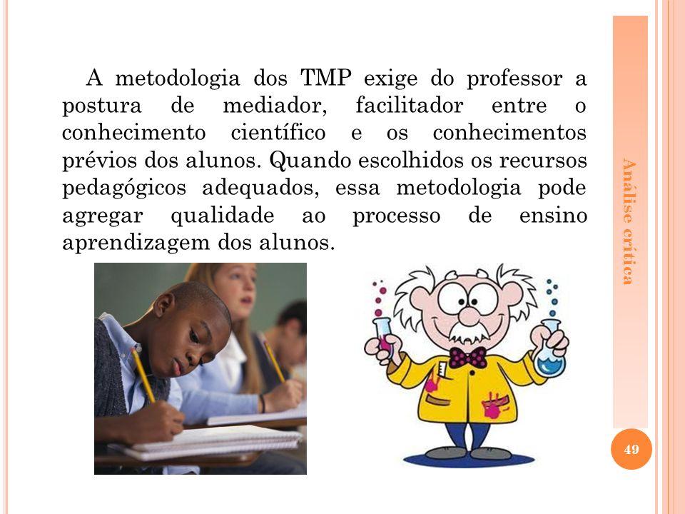 A metodologia dos TMP exige do professor a postura de mediador, facilitador entre o conhecimento científico e os conhecimentos prévios dos alunos.