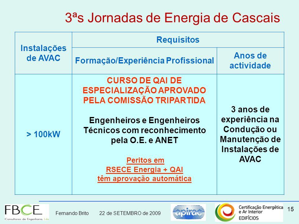 Fernando Brito 22 de SETEMBRO de 2009 15 Instalações de AVAC Requisitos Formação/Experiência Profissional Anos de actividade > 100kW CURSO DE QAI DE E