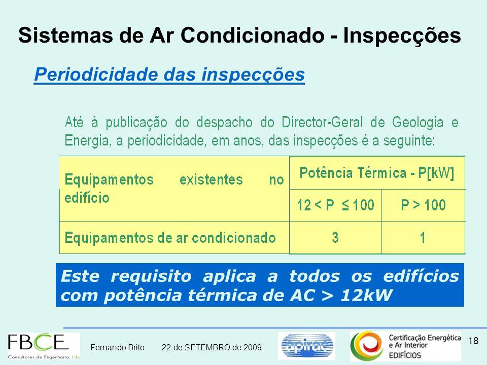 Fernando Brito 22 de SETEMBRO de 2009 18 Sistemas de Ar Condicionado - Inspecções Periodicidade das inspecções Periodicidade das inspecções Este requi