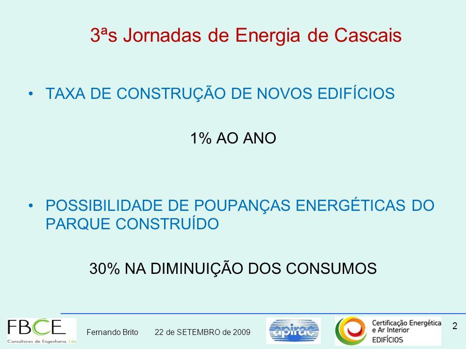 Fernando Brito 22 de SETEMBRO de 2009 3ªs Jornadas de Energia de Cascais TAXA DE CONSTRUÇÃO DE NOVOS EDIFÍCIOS 1% AO ANO POSSIBILIDADE DE POUPANÇAS EN