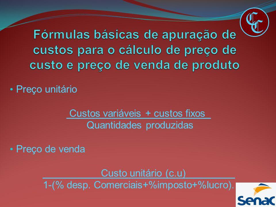 Preço unitário Custos variáveis + custos fixos_ Quantidades produzidas Preço de venda Custo unitário (c.u)_________ 1-(% desp. Comerciais+%imposto+%lu