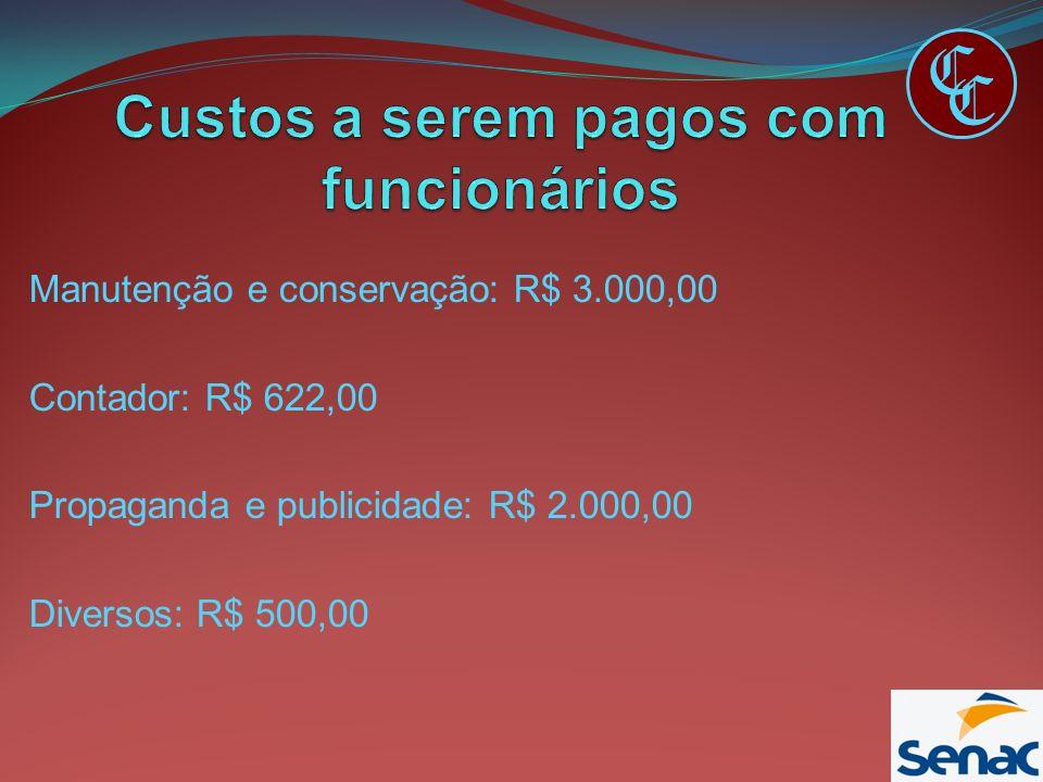 Manutenção e conservação: R$ 3.000,00 Contador: R$ 622,00 Propaganda e publicidade: R$ 2.000,00 Diversos: R$ 500,00 C C