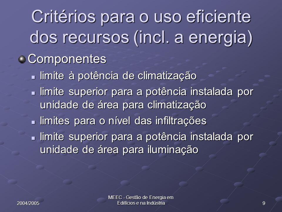 202004/2005 MEEC - Gestão de Energia em Edifícios e na Indústria RCCTE - Parâmetros térmicos Inércia térmica interior It = Mi Si / Ap Mi - massa superficial (kg/ m 2 ) Si - superfície (m 2 ) Ap - área útil de pavimento (m 2 )