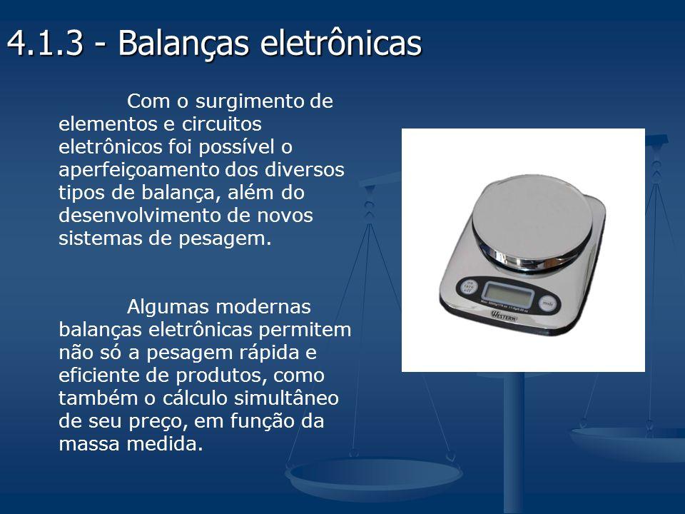 Com o surgimento de elementos e circuitos eletrônicos foi possível o aperfeiçoamento dos diversos tipos de balança, além do desenvolvimento de novos sistemas de pesagem.