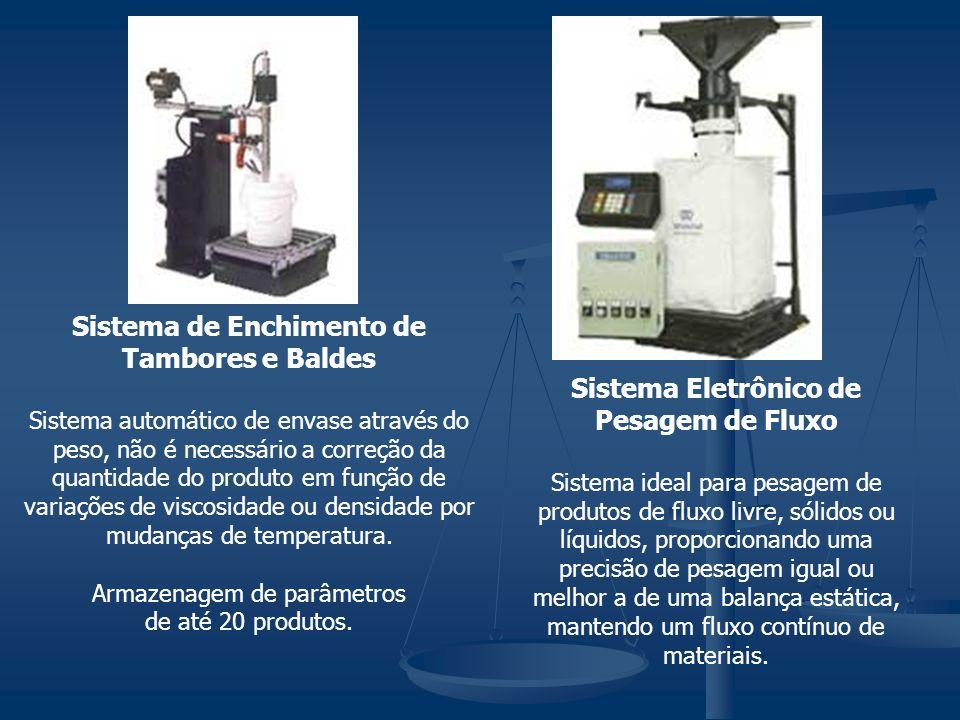 Sistema de Enchimento de Tambores e Baldes Sistema automático de envase através do peso, não é necessário a correção da quantidade do produto em função de variações de viscosidade ou densidade por mudanças de temperatura.