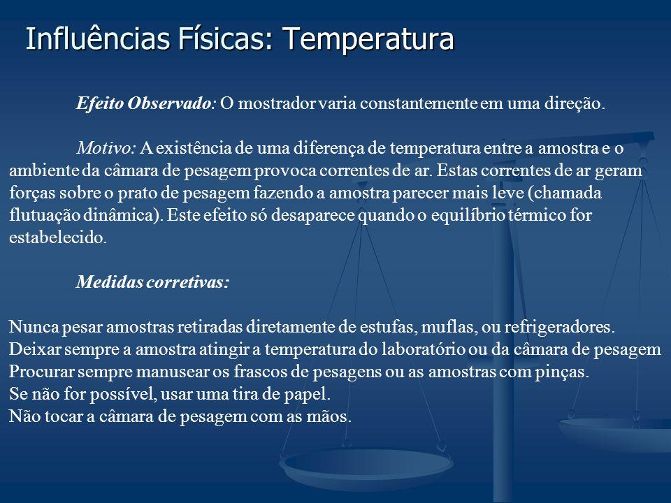 Influências Físicas: Temperatura Efeito Observado: O mostrador varia constantemente em uma direção. Motivo: A existência de uma diferença de temperatu