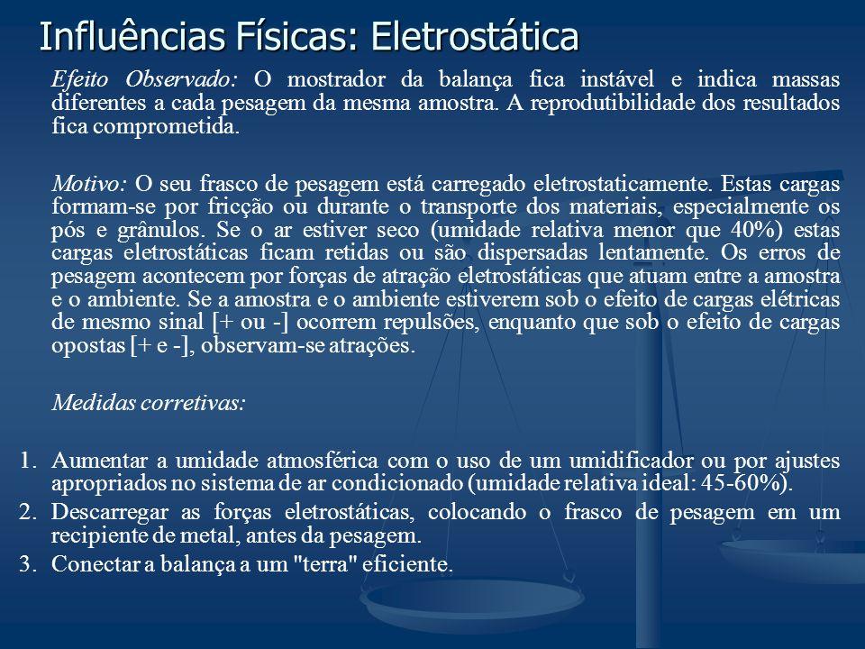 Influências Físicas: Eletrostática Efeito Observado: O mostrador da balança fica instável e indica massas diferentes a cada pesagem da mesma amostra.
