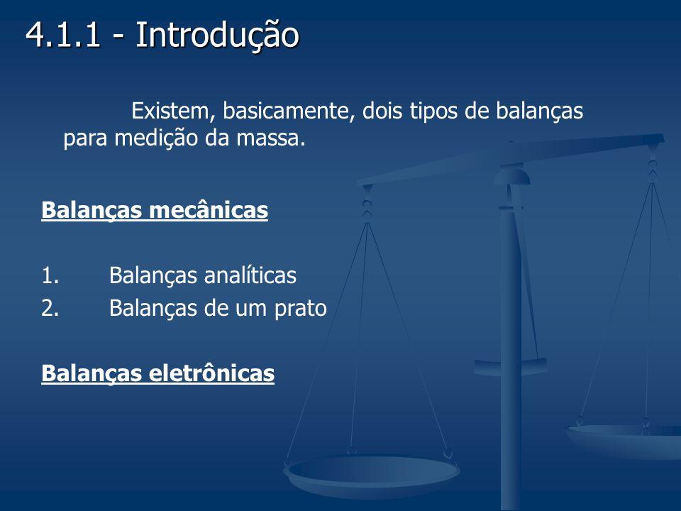 4.1.1 - Introdução Balanças mecânicas 1.Balanças analíticas 2.Balanças de um prato Balanças eletrônicas Existem, basicamente, dois tipos de balanças p