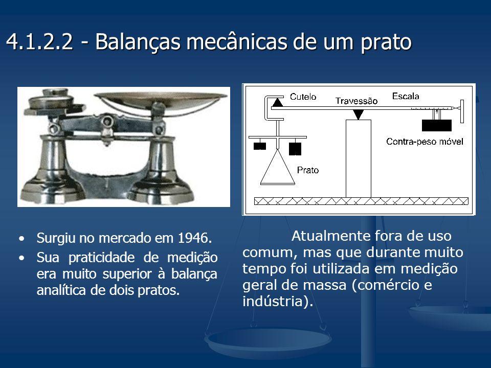 Atualmente fora de uso comum, mas que durante muito tempo foi utilizada em medição geral de massa (comércio e indústria). 4.1.2.2 - Balanças mecânicas