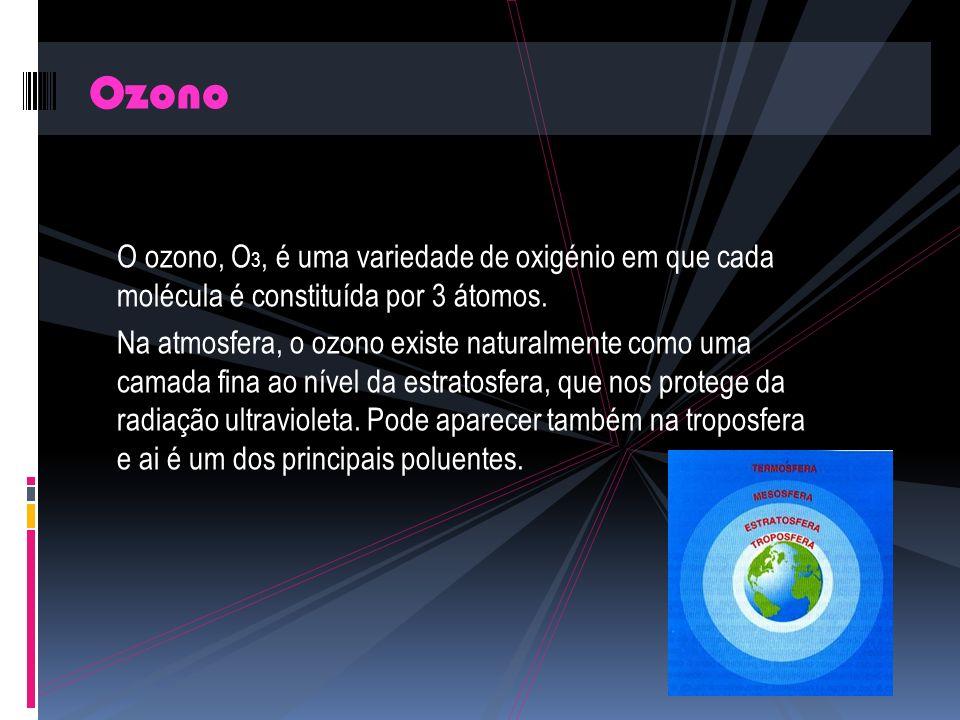O ozono, O 3, é uma variedade de oxigénio em que cada molécula é constituída por 3 átomos.