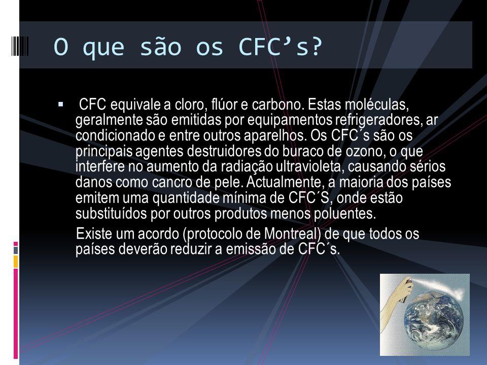 O que são os CFCs.CFC equivale a cloro, flúor e carbono.