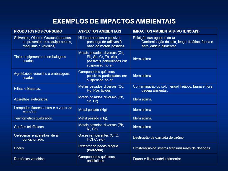 EXEMPLOS DE IMPACTOS AMBIENTAIS PRODUTOS PÓS CONSUMOASPECTOS AMBIENTAISIMPACTOS AMBIENTAIS (POTENCIAIS) Solventes, Óleos e Graxas (trocados ou present