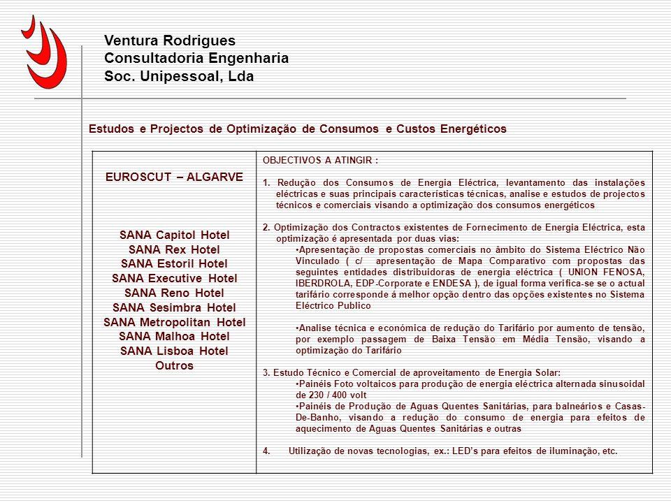 Ventura Rodrigues Consultadoria Engenharia Soc. Unipessoal, Lda Estudos e Projectos de Optimização de Consumos e Custos Energéticos EUROSCUT – ALGARVE