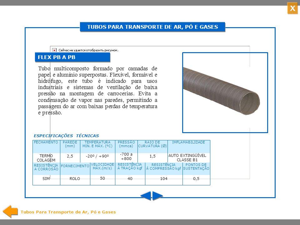 X TUBOS PARA TRANSPORTE DE AR, PÓ E GASES Tubos Para Transporte de Ar, Pó e Gases Tubo flexível multicomposto, formado por camadas de PET PCP e alumínio superpostas.
