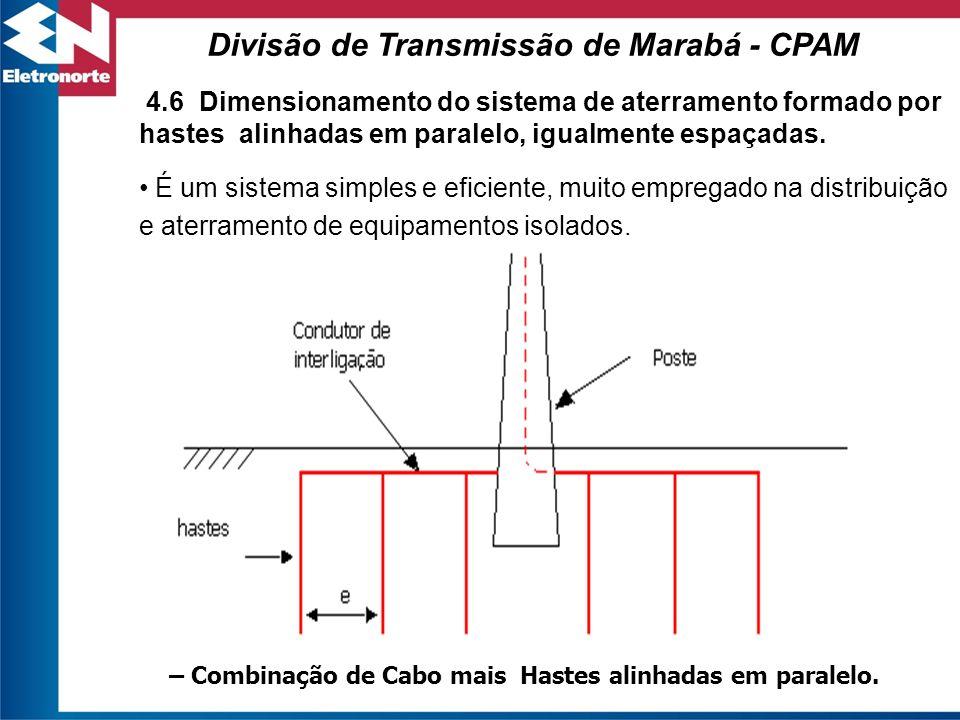 4.6 Dimensionamento do sistema de aterramento formado por hastes alinhadas em paralelo, igualmente espaçadas. É um sistema simples e eficiente, muito