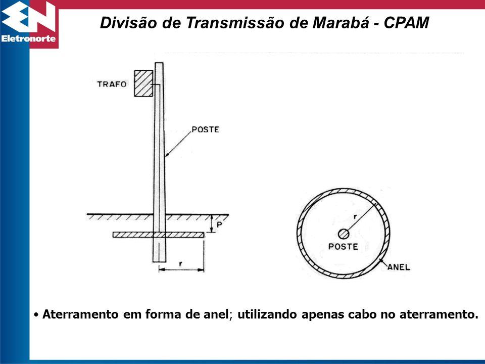 Aterramento em forma de anel; utilizando apenas cabo no aterramento. Divisão de Transmissão de Marabá - CPAM