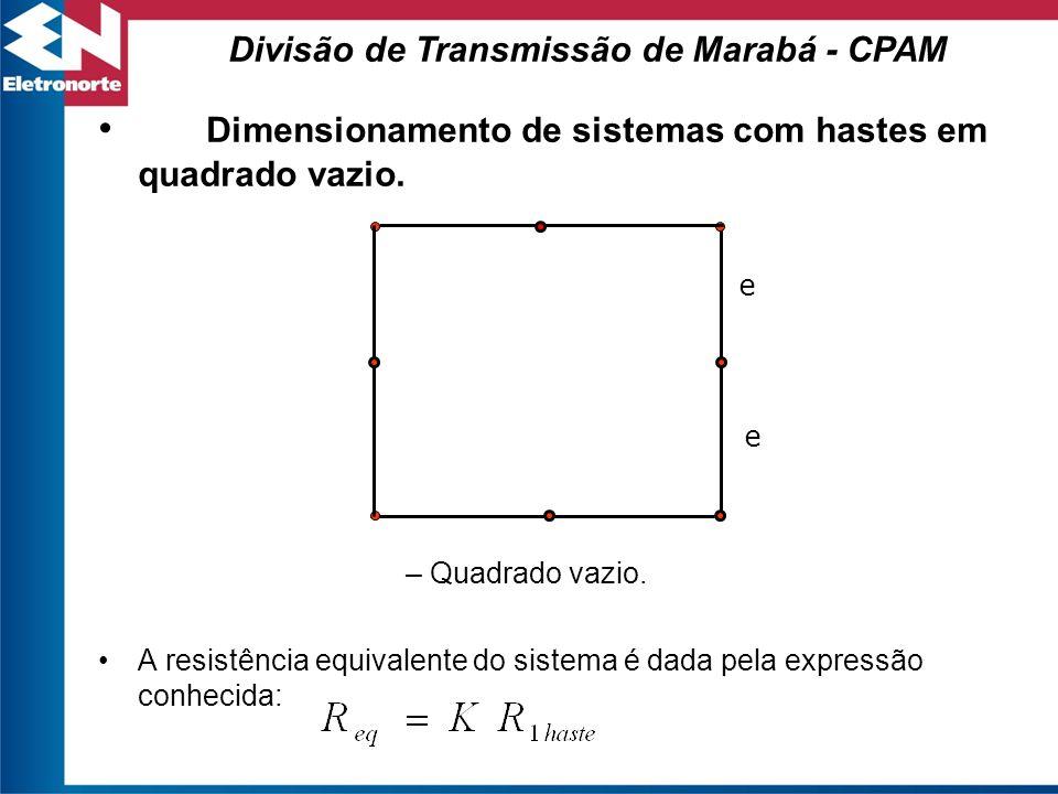 Dimensionamento de sistemas com hastes em quadrado vazio. – Quadrado vazio. A resistência equivalente do sistema é dada pela expressão conhecida: e e