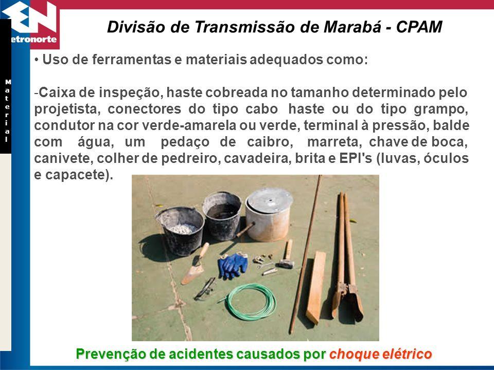 Prevenção de acidentes causados por choque elétrico Material Material Uso de ferramentas e materiais adequados como: -Caixa de inspeção, haste cobread
