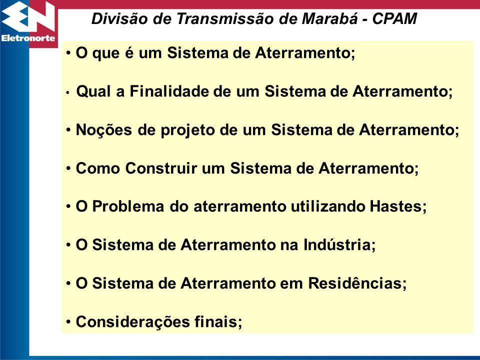 Divisão de Transmissão de Marabá - CPAM O que é um Sistema de Aterramento; Qual a Finalidade de um Sistema de Aterramento; Noções de projeto de um Sis
