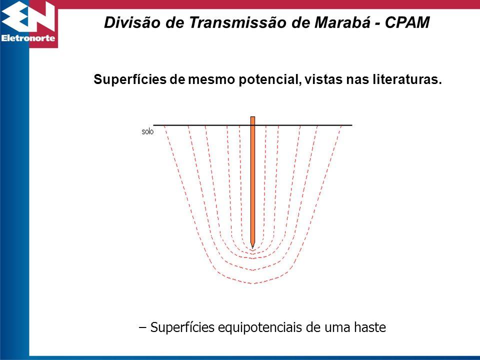 Superfícies de mesmo potencial, vistas nas literaturas. – Superfícies equipotenciais de uma haste Divisão de Transmissão de Marabá - CPAM