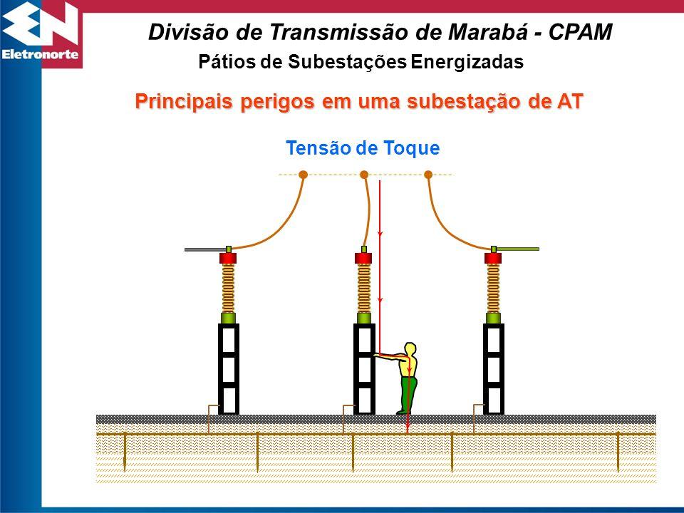 Pátios de Subestações Energizadas Divisão de Transmissão de Marabá - CPAM Principais perigos em uma subestação de AT Tensão de Toque