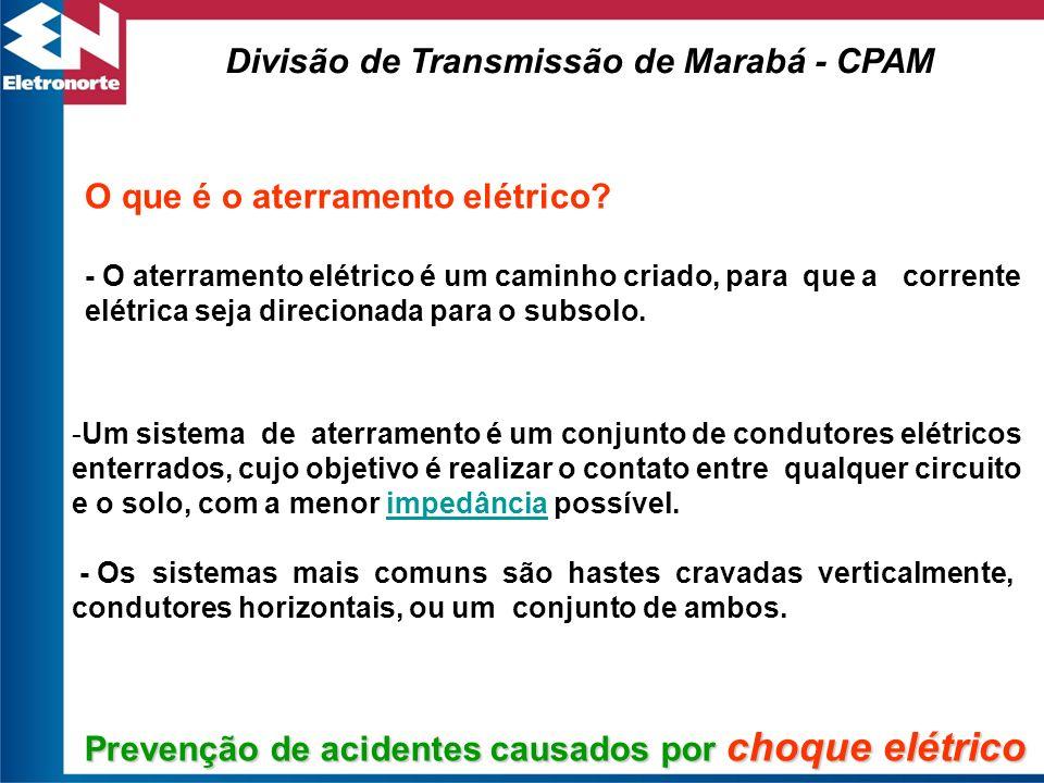 Cabo de ligação à terra Divisão de Transmissão de Marabá - CPAM Nas oficinas, as máquinas que possuem partes energizadas, devem ter suas caraças aterradas.