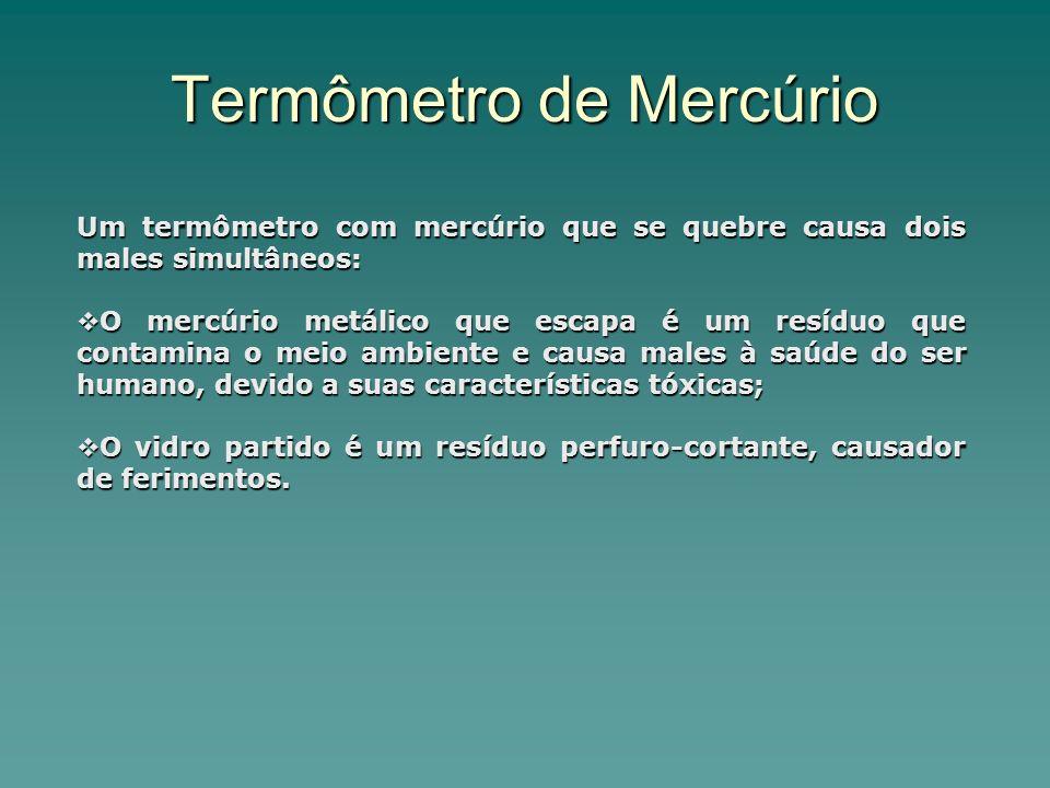 Termômetro de Mercúrio Um termômetro com mercúrio que se quebre causa dois males simultâneos: O mercúrio metálico que escapa é um resíduo que contamina o meio ambiente e causa males à saúde do ser humano, devido a suas características tóxicas; O mercúrio metálico que escapa é um resíduo que contamina o meio ambiente e causa males à saúde do ser humano, devido a suas características tóxicas; O vidro partido é um resíduo perfuro-cortante, causador de ferimentos.