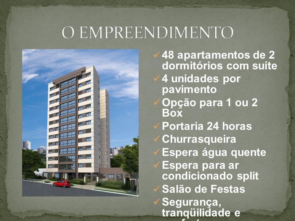 48 apartamentos de 2 dormitórios com suíte 4 unidades por pavimento Opção para 1 ou 2 Box Portaria 24 horas Churrasqueira Espera água quente Espera pa