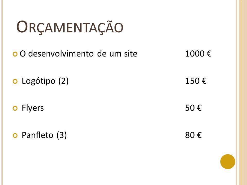 O RÇAMENTAÇÃO O desenvolvimento de um site1000 Logótipo (2)150 Flyers50 Panfleto (3)80