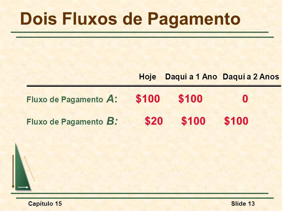 Capítulo 15Slide 13 Dois Fluxos de Pagamento Fluxo de Pagamento A: $100 $100 0 Fluxo de Pagamento B: $20 $100 $100 Hoje Daqui a 1 AnoDaqui a 2 Anos