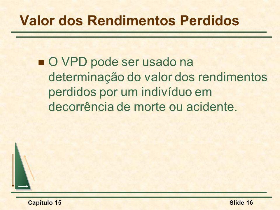 Capítulo 15Slide 16 Valor dos Rendimentos Perdidos O VPD pode ser usado na determinação do valor dos rendimentos perdidos por um indivíduo em decorrência de morte ou acidente.