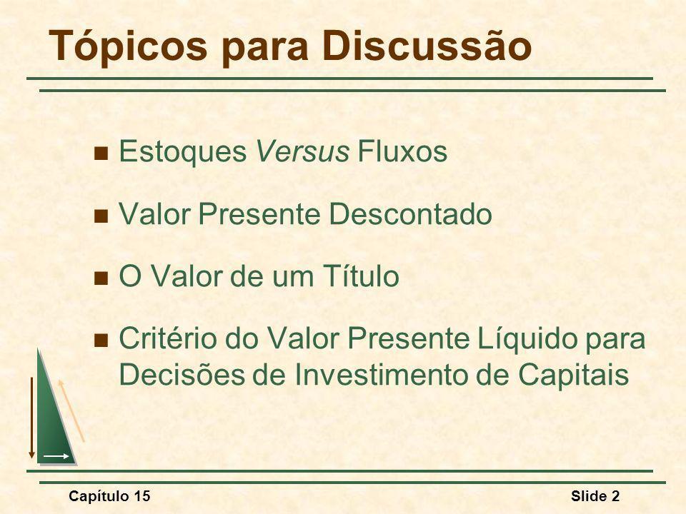 Capítulo 15Slide 2 Tópicos para Discussão Estoques Versus Fluxos Valor Presente Descontado O Valor de um Título Critério do Valor Presente Líquido para Decisões de Investimento de Capitais