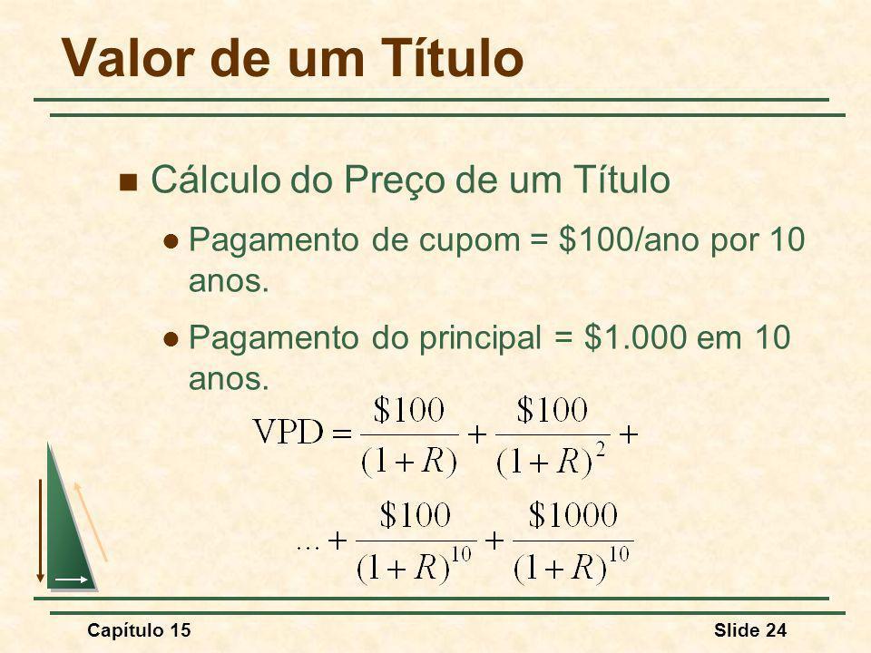 Capítulo 15Slide 24 Valor de um Título Cálculo do Preço de um Título Pagamento de cupom = $100/ano por 10 anos.