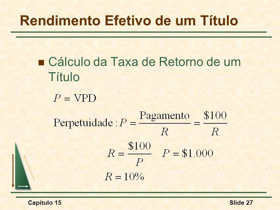 Capítulo 15Slide 27 Rendimento Efetivo de um Título Cálculo da Taxa de Retorno de um Título