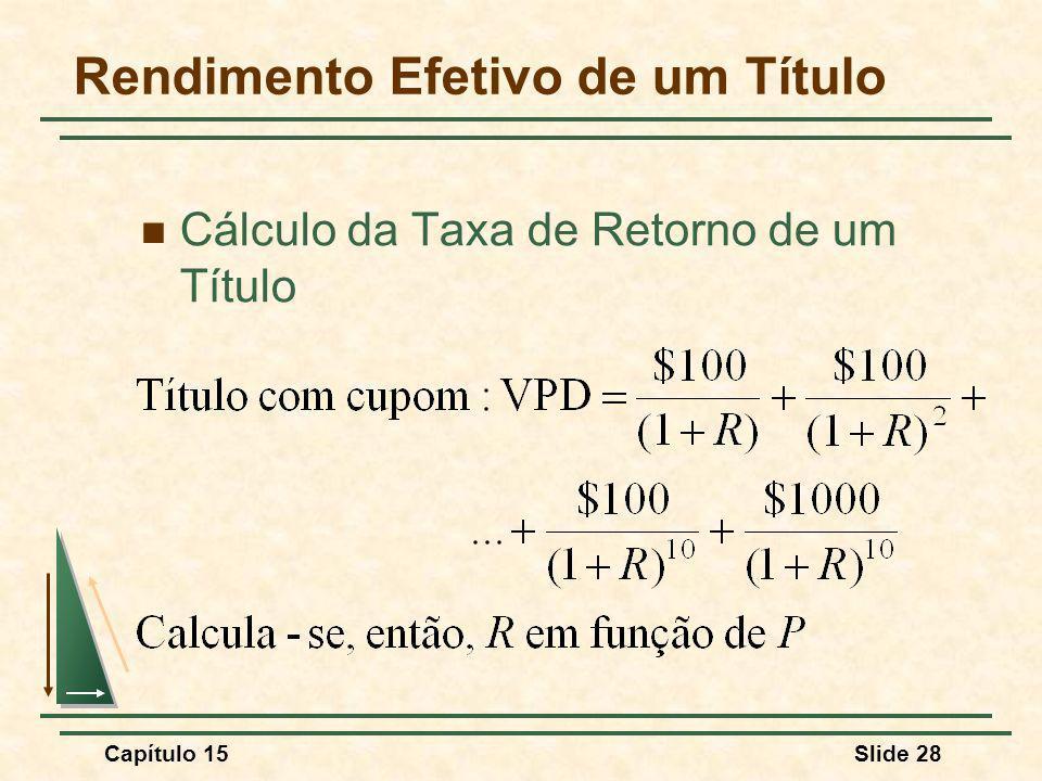 Capítulo 15Slide 28 Rendimento Efetivo de um Título Cálculo da Taxa de Retorno de um Título
