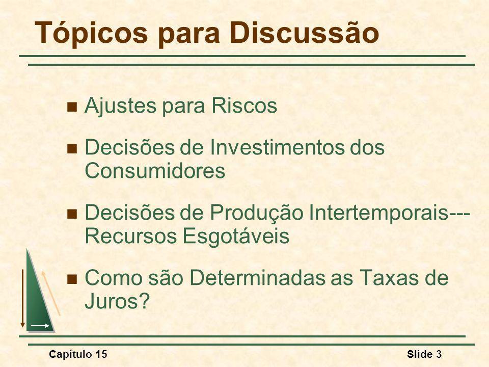 Capítulo 15Slide 3 Tópicos para Discussão Ajustes para Riscos Decisões de Investimentos dos Consumidores Decisões de Produção Intertemporais--- Recursos Esgotáveis Como são Determinadas as Taxas de Juros?