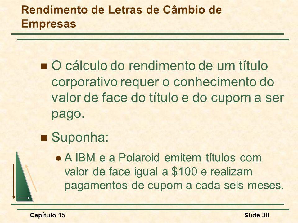 Capítulo 15Slide 30 Rendimento de Letras de Câmbio de Empresas O cálculo do rendimento de um título corporativo requer o conhecimento do valor de face do título e do cupom a ser pago.